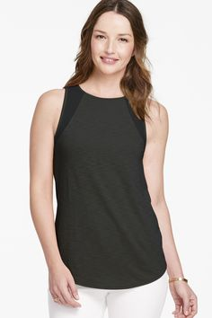 Johnston & Murphy Chiffon-Inset Sleeveless Top: Luxuriously soft Pima cotton and modal slub jersey material.