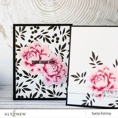 Hello, dear readers! Sveta is here today and I want to share with you two monochromatic cards using incredible Peony Bouquet Stamp set! Most of all I like detailed lines in this stamp set,  so I wanted to create something simple and eye catching. I added only one bold layer of peony's leaves and used Jet Black Crisp …