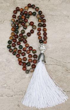 Beaded Tassel Necklace-Long Bead by FlowersInMyHairShop on Etsy