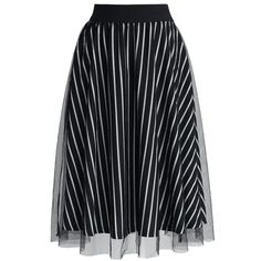 Chicwish Monochromic Stripes Mesh Midi Skirt ($42) ❤ liked on Polyvore featuring skirts, bottoms, multi, mid calf black skirt, black striped skirt, striped midi skirt, black elastic waist skirt and layered skirt