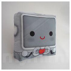 Decorative Pillow Robot Pillow Throw Pillow Kawaii by mymimi - $18.00