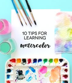 10 tips for learning watercolor - great for beginners - DIY WATERCOLOR Painting easy Painting ideas Painting water Painting tutorials Painting landscape Painting abstract Watercolor Painting Watercolor Tips, Watercolor Projects, Watercolour Tutorials, Watercolor Techniques, Watercolor Cards, Watercolour Painting, Painting & Drawing, Encaustic Painting, Painting Flowers