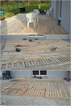 Cheap Home Furnishings with Recycled Wooden Pallets: Wood pallets are versatile and there is no doubt about this fact. The use of wood pallets in creative way for various portions. Pallet Patio Decks, Pallet Porch, Backyard Patio Designs, Diy Deck, Palet Deck, Outdoor Pallet, Wooden Pallet Projects, Diy Pallet Furniture, Wooden Pallets