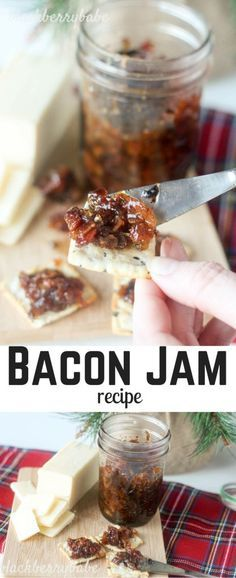 Bacon Jam Recipe. Sweet, salty and savory with brown sugar. Spread on crackers, bruschetta, baked brie or top baked potatoes or grilled meat! So versatile, and so yummy. PLUS, I share other great ideas for holiday gifts for MEN! #bacon