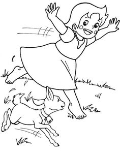 Pippi on the horse coloring pages for kids, printable free