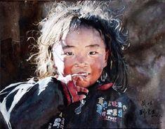 Portrait aquarelle hyperréaliste de l'artiste chinois Liu Yunsheng