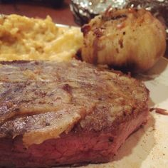 Steak with smeared Roasted Garlic