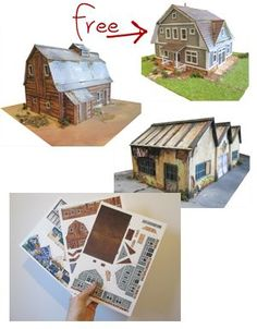 Track Layout Ideas for Your Model Train N Scale Model Trains, Model Train Layouts, 3d Paper Crafts, Paper Toys, N Scale Buildings, Train Miniature, Brick Paper, Free Paper Models, Ho Trains