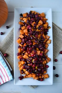 Roasted Maple Sweet Potatoes and Cranberries -sign up for more quick, healthy recipe athttp://eepurl.com/bgGhFT