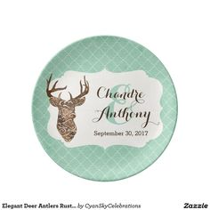 Elegant Deer Antlers Rustic Country Wedding Gift Porcelain Plates #deer #antlers #rustic #country #wedding #turquoise #woodland #woodsy #natural #nature