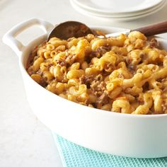 """Trick the picky """"noodles only"""" eaters at the table with this macaroni and cheese casserole. It's packed with lean sirloin, shredded..."""
