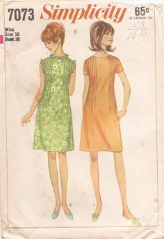 1960s Shift Dress with RUFFLES and TUCKS Sewing Pattern Size 16