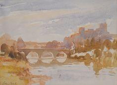 Edward Seago (1910 — 1974, UK) Ludlow Castle. watercolour. 10 x 13 in.
