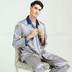 Mens Silk Pajamas Pyjamas PJS Set Sleepwear Loungewear S M L XL 2XL 3XL p p f083d81b4