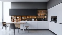 modern kitchen design white natural wood