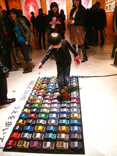 interactive art installation of guitar effects pedals, david byrne