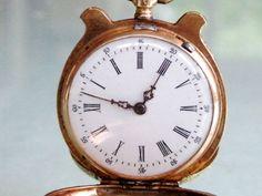 Incredibly Rare Lyre shaped 14K Gold & Enamel Antique Pocket Watch