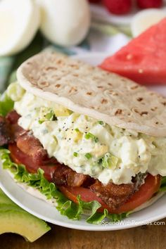 Avocado Egg Salad is a delicious twist on a traditional egg salad with the addition of rich creamy avocado. To take this wrap from ordinary to extraordinary, it's topped with fresh lettuce, ripe juicy tomatoes and crisp smoky bacon.