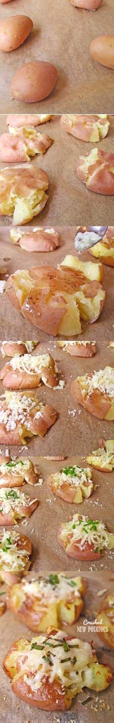 Crash New Potatoes | www.sugarapron.com | #recipes #potatoes #parmesan