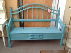 $189 - Turquoise bench with storage - This was a queen size bed re-purposed to create a bench with lift up seat storage. Painted turquoise, lightly distressed and a dark wax was hand applied. ***** In Booth D10 at Main Street Antique Mall 7260 E Main St (east of Power RD on MAIN STREET) Mesa Az 85207 **** Open 7 days a week 10:00AM-5:30PM **** Call for more information 480 924 1122 **** We Accept cash, debit, VISA, Mastercard, Discover or American Express