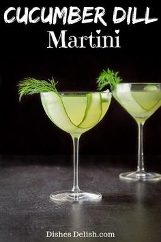This cucumber dill martini is so refreshing and delicious! The flavors of the dill mixed with the cucumber complements the vodka and makes for a tasty drink! Martini Recipes, Drinks Alcohol Recipes, Yummy Drinks, Cocktail Recipes, Cucumber Martini Recipe, Alcoholic Beverages, Bar Drinks, Drink Recipes, Raspberry Cocktail