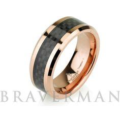 Rose Gold Wedding Band 14K Mens Tungsten Carbide by BravermanOren