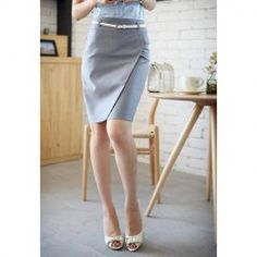 $9.11 Graceful OL Style Pencil Skirt For Women(With Belt)
