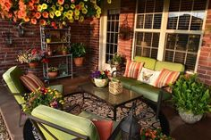our colorful spring patio, outdoor living, patio