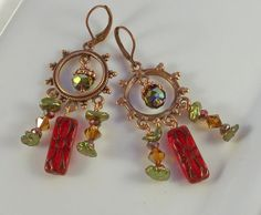 Bohemian Girl  Copper Pearl Red and Green Crystal  by Jewelyett, $45.00
