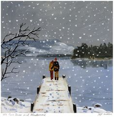 We Love Snow and Windermere. Large mounted print.