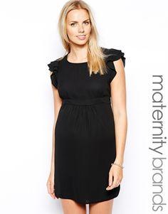 Shower Dress - New Look Maternity Ruffle Sleeve Waisted Dress