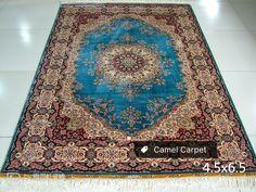 Blue central medallion silk hand knotted rug info@camelcarpet.com