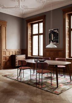 GUBI // 1965A Pendant, Coco Dining Chair, Gubi Dining Table, 62 Dresser, Matégot Fruit Bowl, Matégot Flower Pot