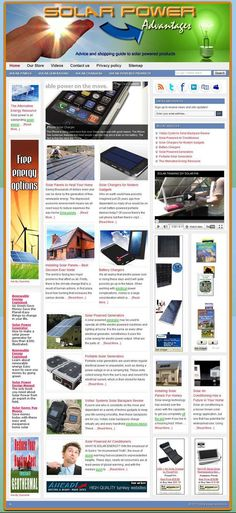 Solar power ready-made website for sale! Comprehensive website design with very elegant and detailed graphics, plenty of content, dozens of pictures, videos reviews, contact/privacy pages, and more! READY TO RUN with ANY affiliate programs such as AdSense, Amazon, ClickBank, Chitika, AdBrite, Kontera, Infolinks... all of them! Built-in and preconfigured auto-updating Amazon Store, start selling without keeping any inventory!