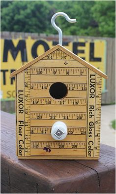 Yardstick Birdhouse, Hanging, Vintage Yardsticks Bird House, Repurpose Materials, Collectiable Yard Sticks, Hydro Insulator All of our birdhouses are made from materials that are vintage, recycled or reclaimed objects. We love the adventure of finding pieces that fit together to create a wonderful birdhouse. Each house is ready for your garden and ready for a bird family to move in. Constructed with Vintage Wooden Yardsticks, an old Hydro Insulator and Industrial Hanger. Measures approx. ...
