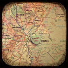 thank you boston candy heart map art 5x5 ttv photo print - free shipping. $15.00, via Etsy.