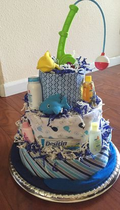 Fishing themed diaper cake