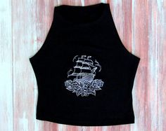 Ships And Roses Crop Top-Yoga Top-Workout by ZellyaDesigns on Etsy