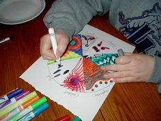 Art Therapy: Sharing Directives: Emotions Color Wheel -- a good idea for older kids. Maybe even changing it to be something along the lines of drawing things that happened today. Art Therapy Projects, Therapy Tools, Play Therapy, Therapy Ideas, Art Projects, Therapy Games, Project Ideas, Counseling Activities, Art Therapy Activities