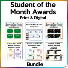 Celebrate your student's achievements, efforts, character traits, hard work, and more with our variety of student of the month awards. These awards could be used for primary and high school students. This bundle includes: * 6 different student of the month awardsA. Student of the Month Star ThemeTh...