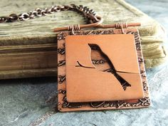 Bird Necklace Copper Pendant Cut Out Etched Copper Mixed Metal Jewelry, Metal Clay Jewelry, Bird Jewelry, Copper Jewelry, Pendant Jewelry, Jewelry Crafts, Jewelry Art, Jewelery, Handmade Jewelry