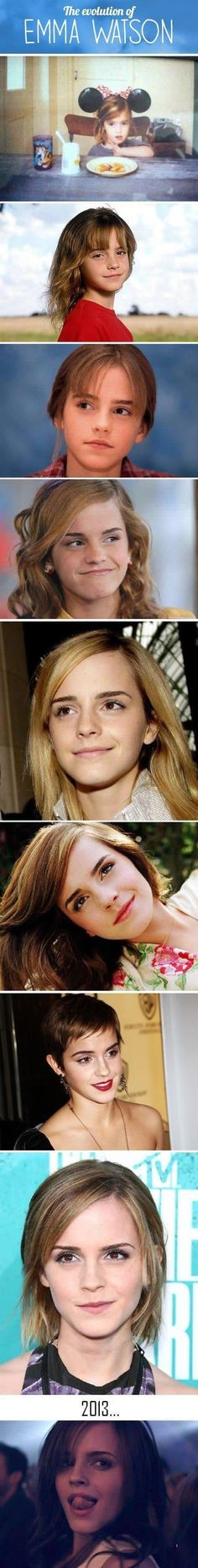 The Evolution of Emma Watson (Hermione Granger, Harry Potter) Harry Potter Film, Harry Potter Love, Hermione Granger, Jenifer Lawrence, Patrick Swayze, John Travolta, Emilia Clarke, Leonardo Dicaprio, Celebs