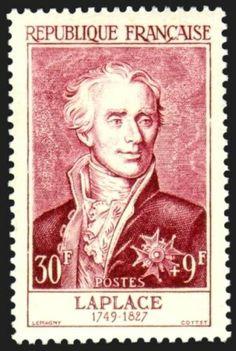 Pierre Simon Laplace auf Briefmarke Frankreich 1955