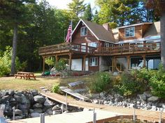 Incredible deep, wide water views of Great Bay Sebago Lake! Major 2004 renovation for this large, grandfathered footprint near waters edge. 4+ bdrm with 60'deck overlooking the water, open concept, game room, cathedral ceilings, 4 fireplaces..great home!   Offered at $1,225,000 lakefrontmaine@gmail.com