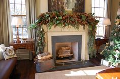 Greenery And Pine Cone Feat Lush Garland For Creative Christmas Mantel Decorating Idea Plus Antique Living Room Table Design