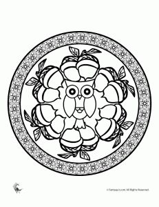 6 medium to difficult mandala coloring pages for kids and adults with a fall theme.