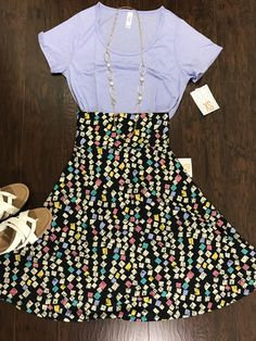 Just working on some outfits! Lularoe Xs classic tee and xs azure skirt! This is so adorable!