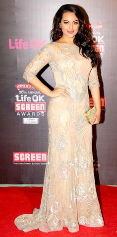 Sonakshi Sinha on the red carpet at the Life OK Screen Awards.