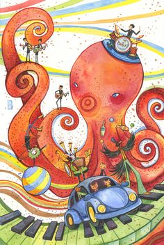 """tribute to Ringo's masterpiece, """"Octopus's Garden"""" painted by artist and Beatles fan: Alina Chau Rigor Mortis, Art And Illustration, Rishikesh, Beatles Tattoos, Wall Prints, Poster Prints, Posters, Bedroom Prints, Beatles Art"""