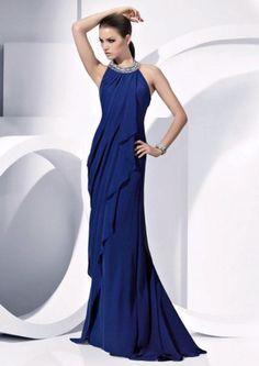Vestido longo de festa azul marinho. Pronovias.